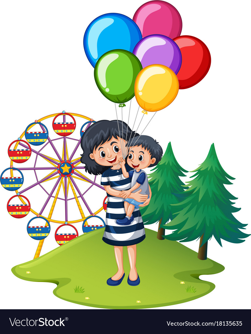 Mother and son at fun park vector image