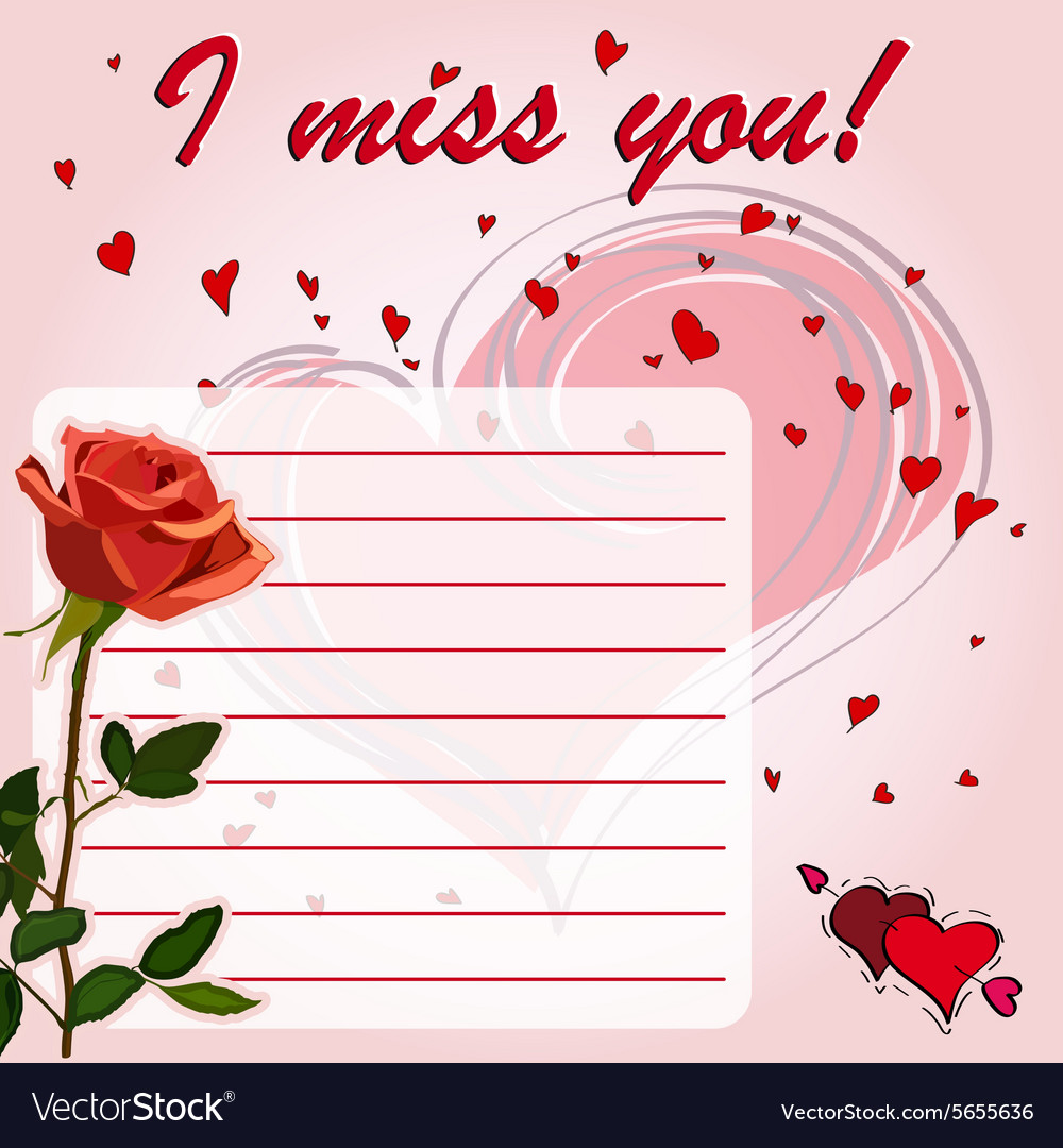 Greeting card i miss you with flower red rose vector image kristyandbryce Image collections