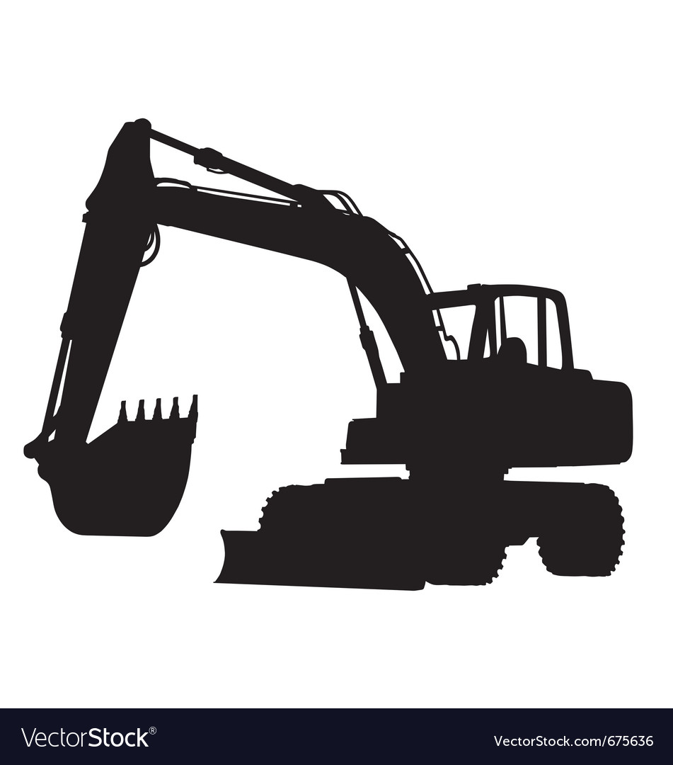 Wheeled excavator silhouette Royalty Free Vector Image