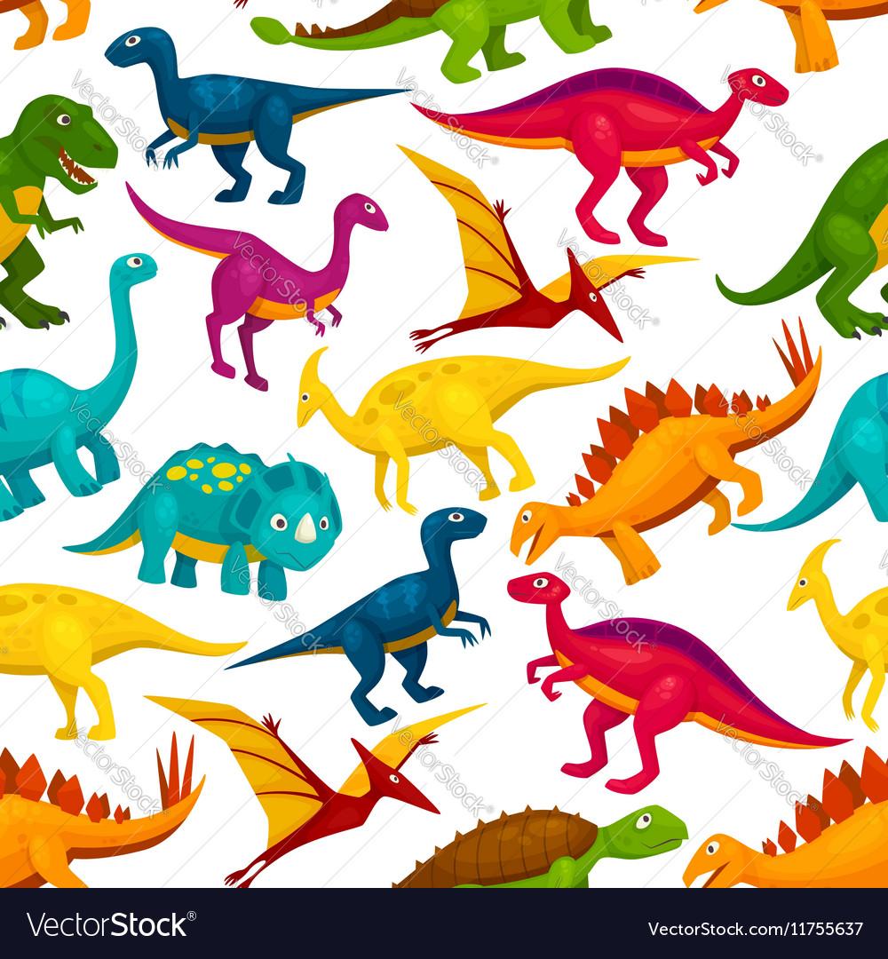 Dinosaur jurassic animal monster seamless pattern vector image