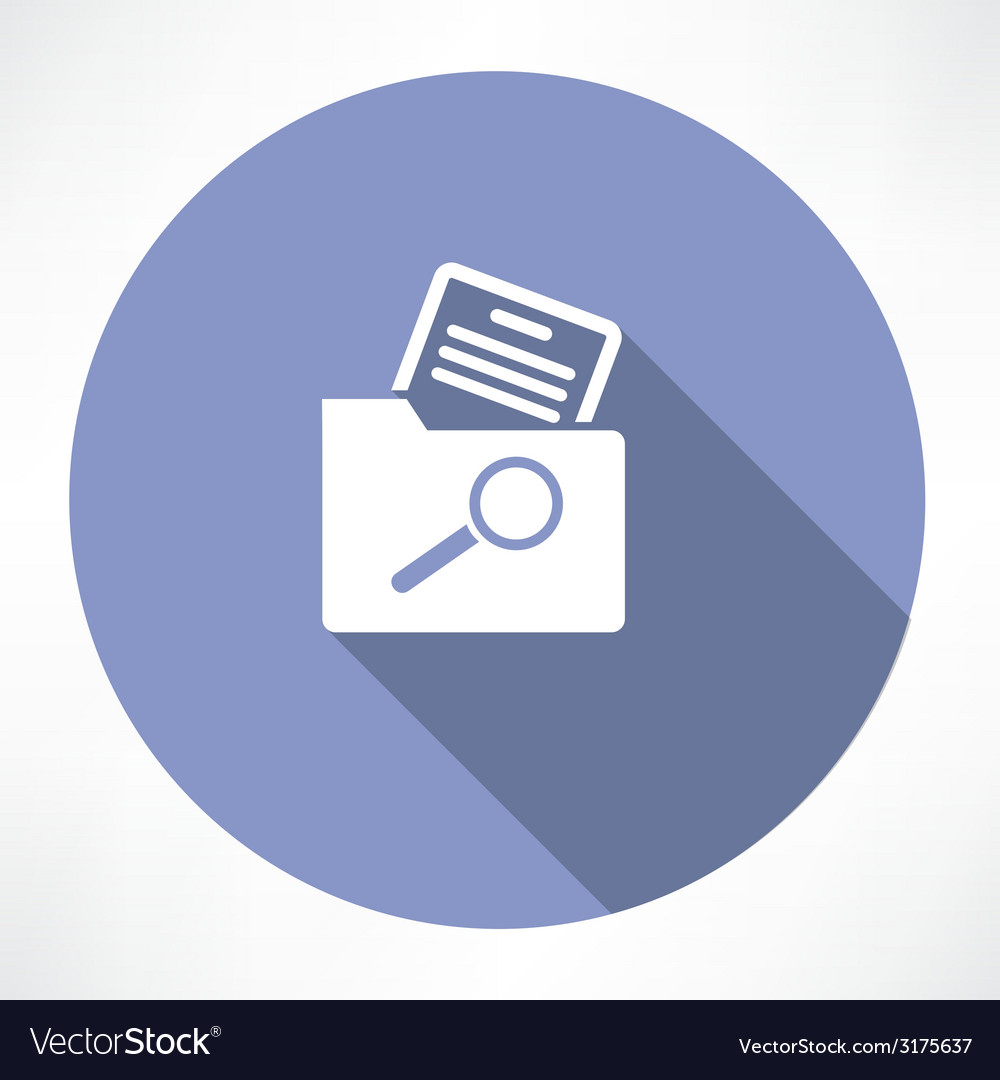 Search for a document in the folder icon vector image