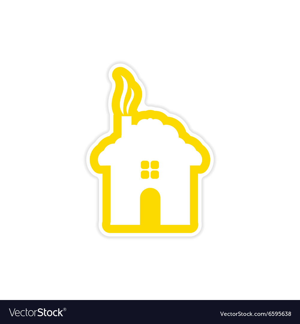Paper sticker on white background house snow