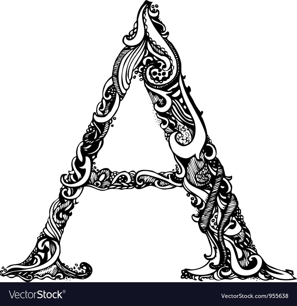 A letter capital black vector image