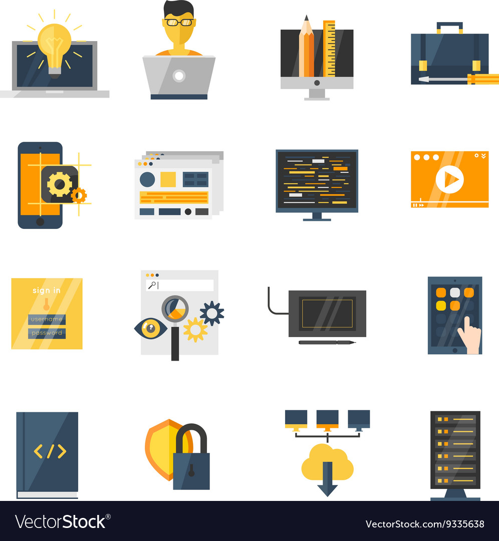 Program Development Flat Icon Set vector image