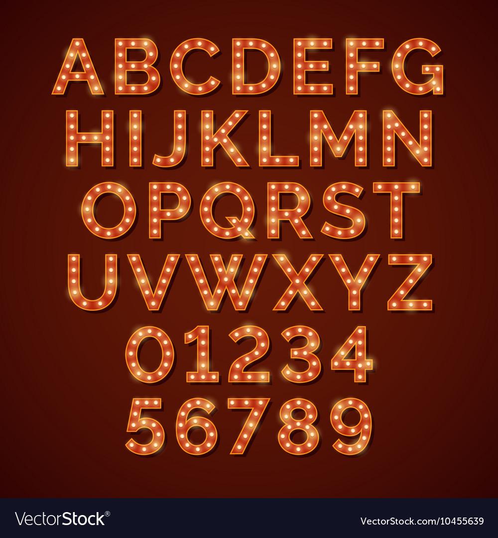 Retro light bulb bright alphabet font vector image