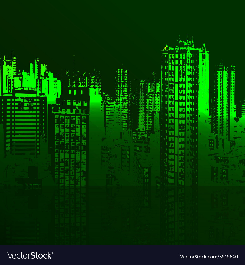 Green city and the sea vector image