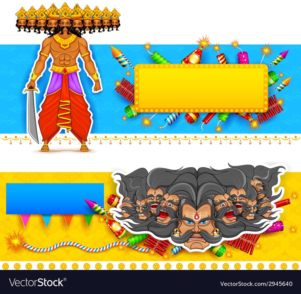 Ravan in Dussehra advertisment and promotion vector image