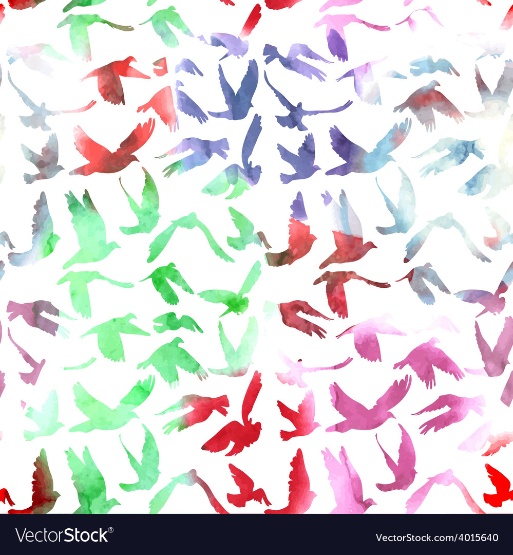 Watercolor Doves and pigeons seamless pattern on vector image