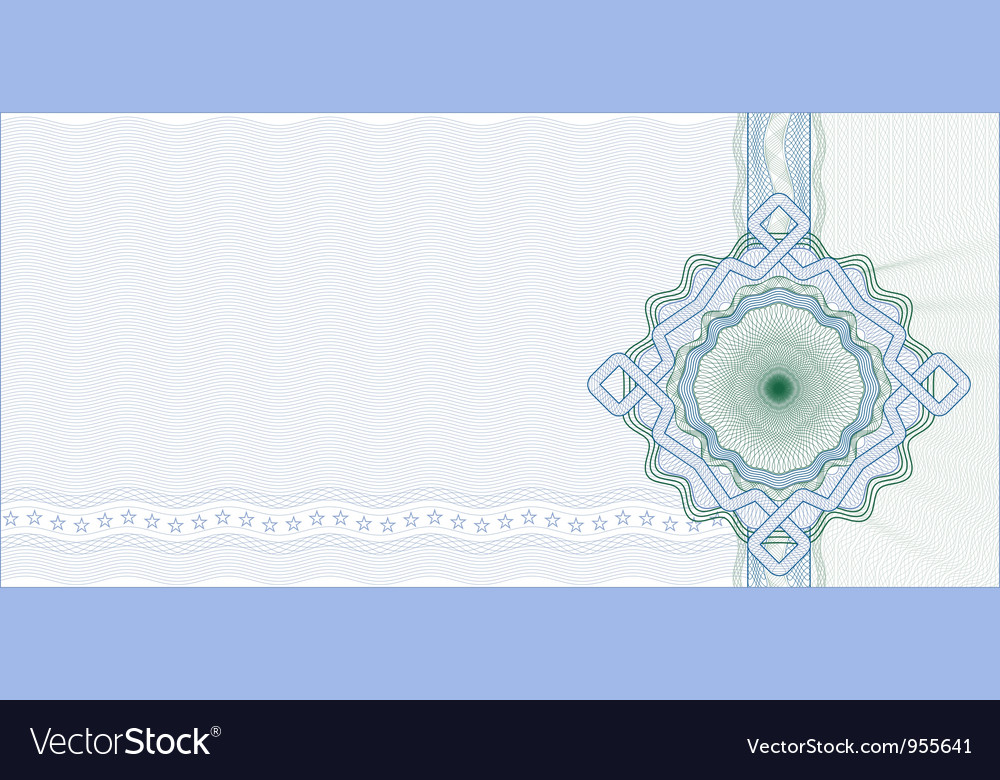 Guilloche Background for Gift Certificate vector image