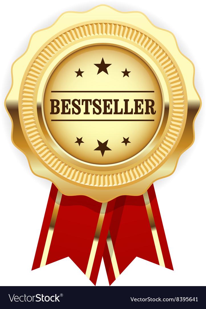 Golden medal Bestseller with red ribbon vector image