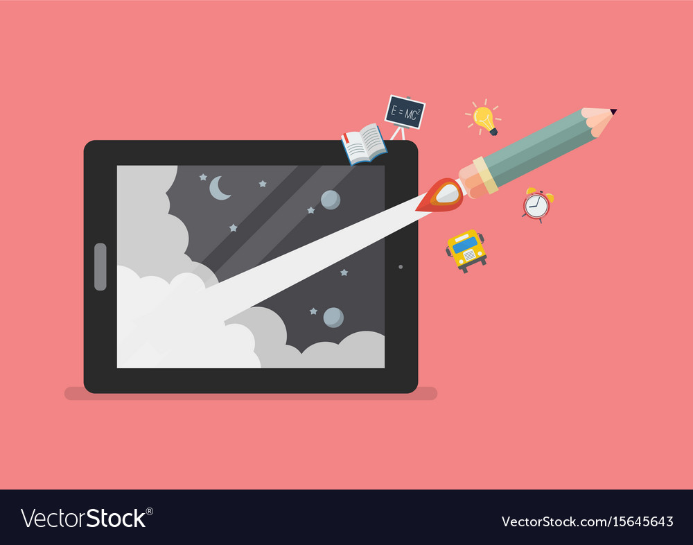 Pencil rocket launch out of computer tablet vector image
