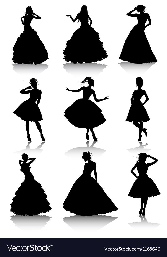 Set of various beautiful model girls in dress vector image