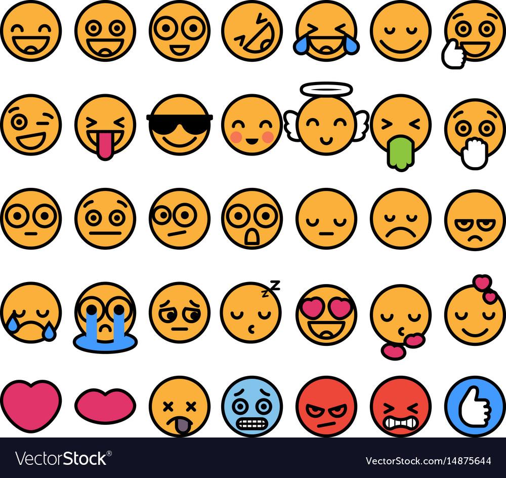 Set of 35 funny emoticons with black stroke emoji vector image