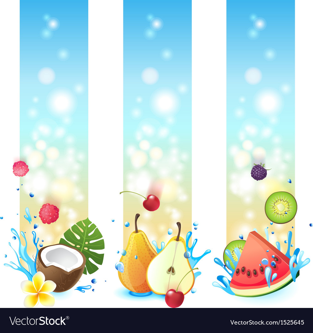 3 fruits in splashes banners vector image