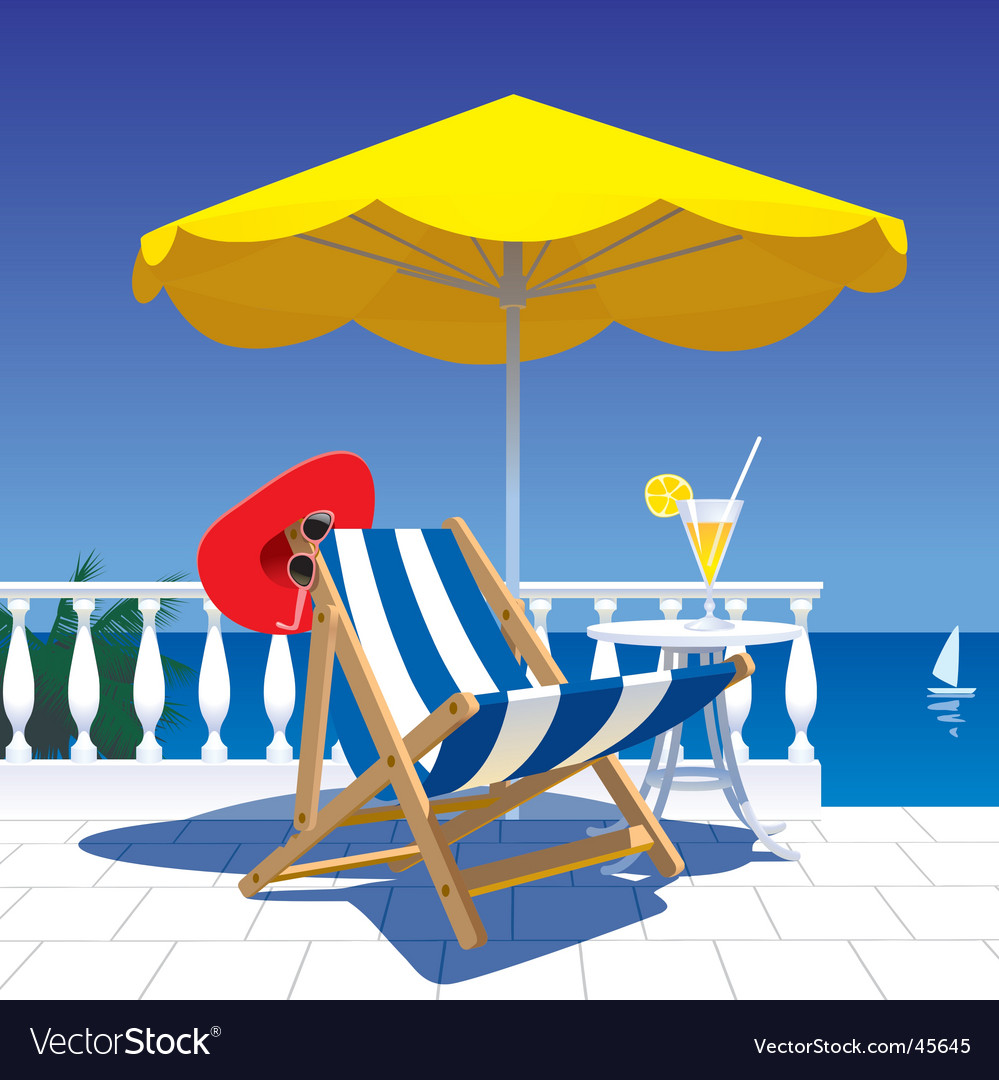 Terrace with a sea-view vector image