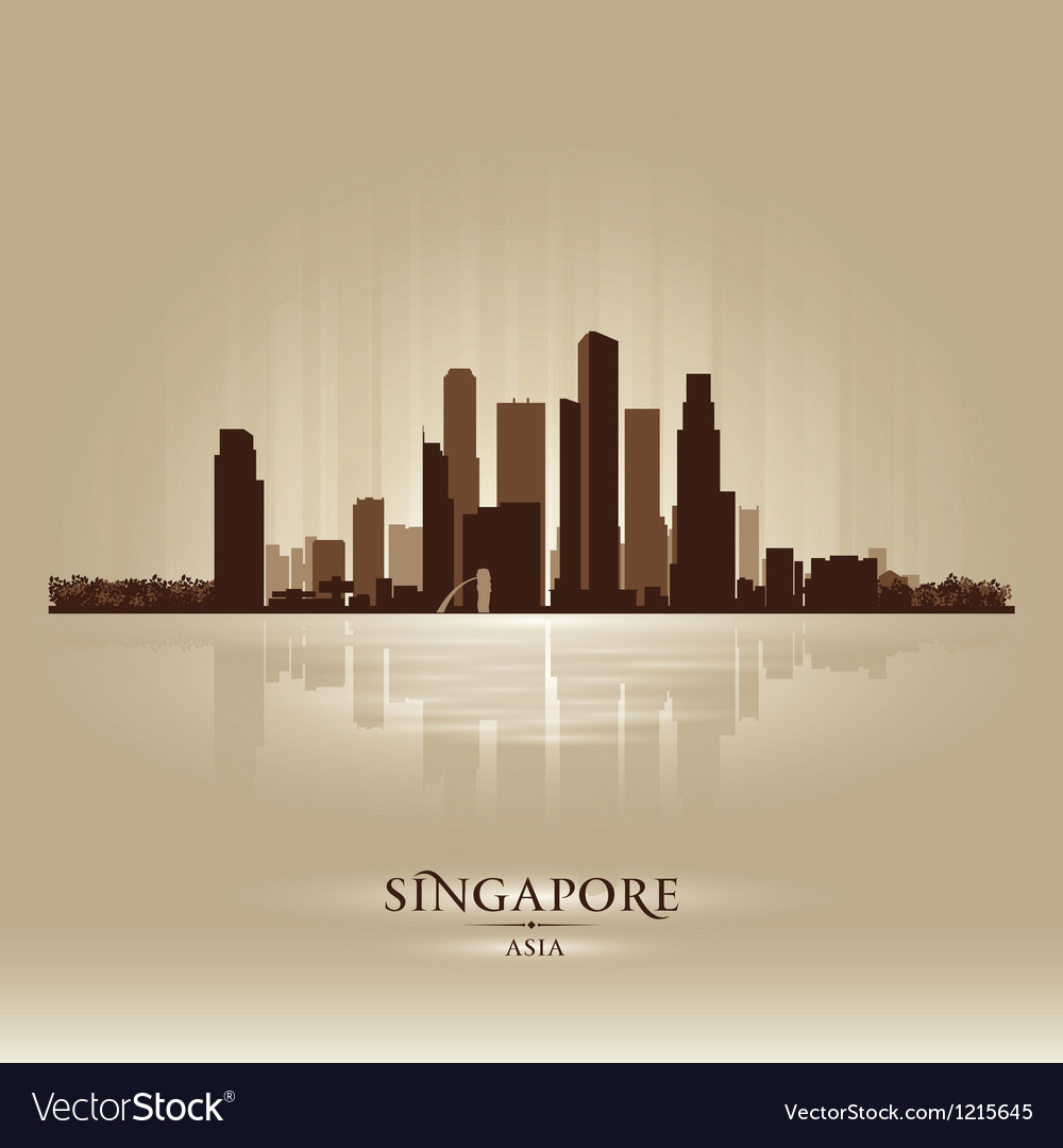 Singapore Asia skyline city silhouette vector image