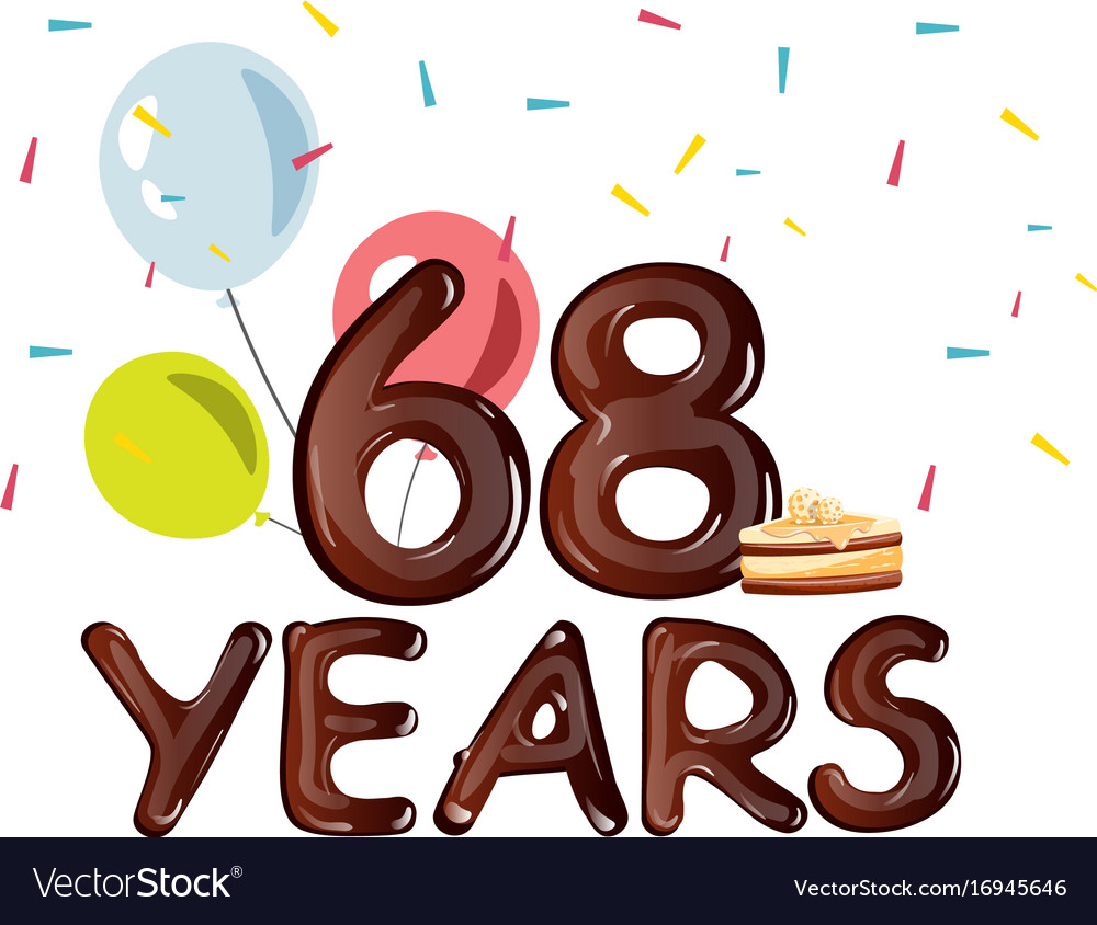 68 years anniversary celebration greeting card vector image