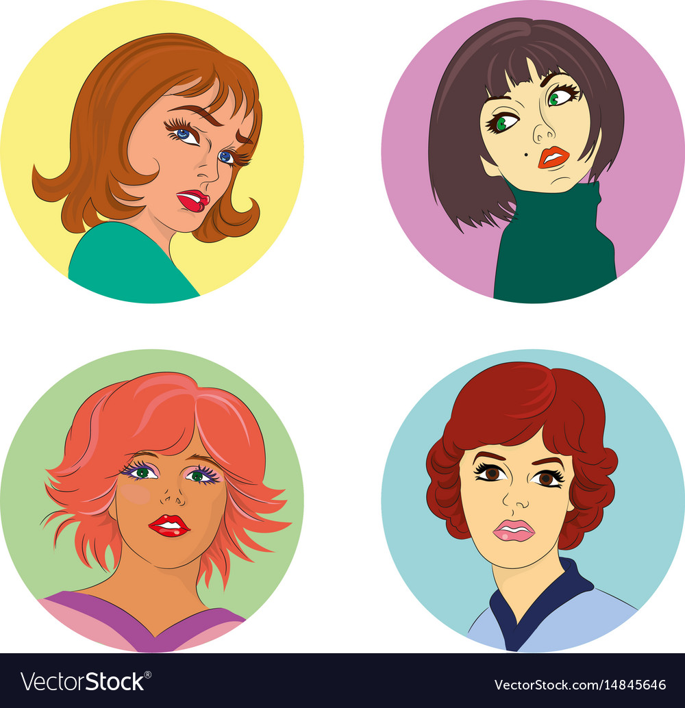 Set of fashion faces vector image