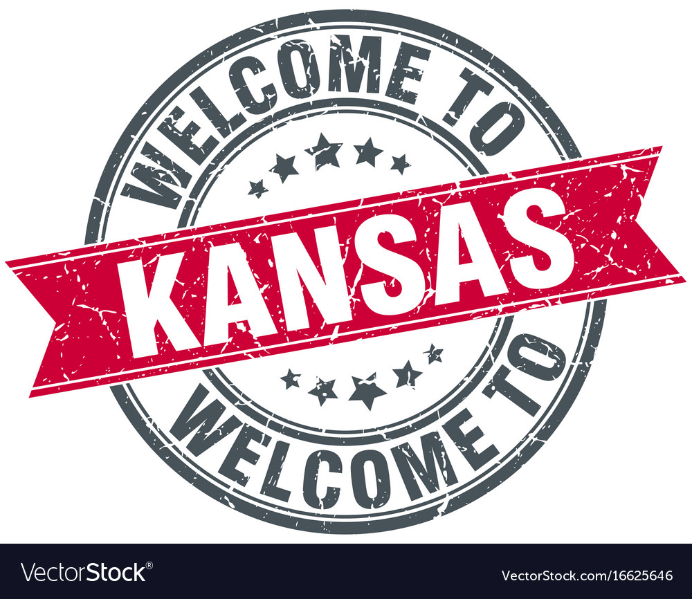 Welcome to kansas red round vintage stamp vector image