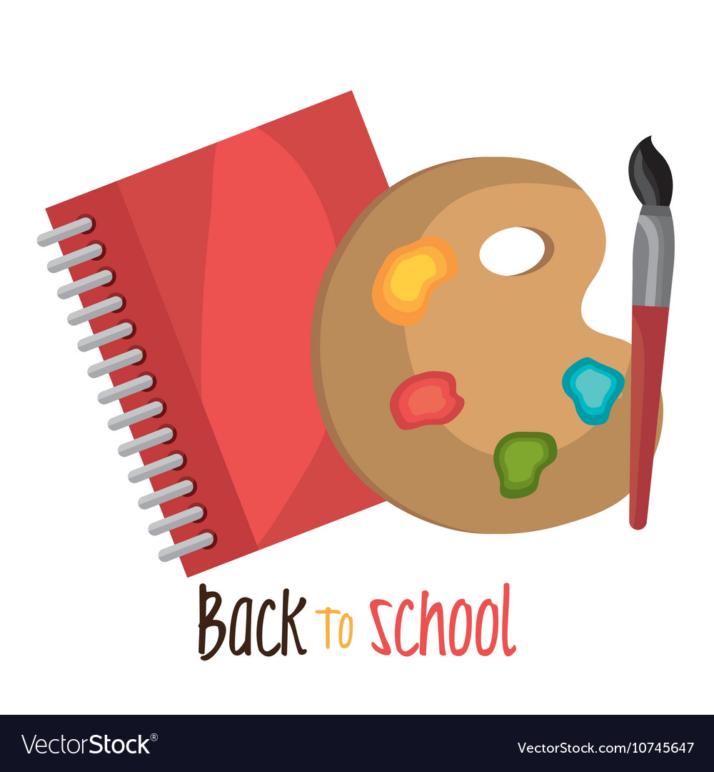Back to school notebook and paint brusch design vector image