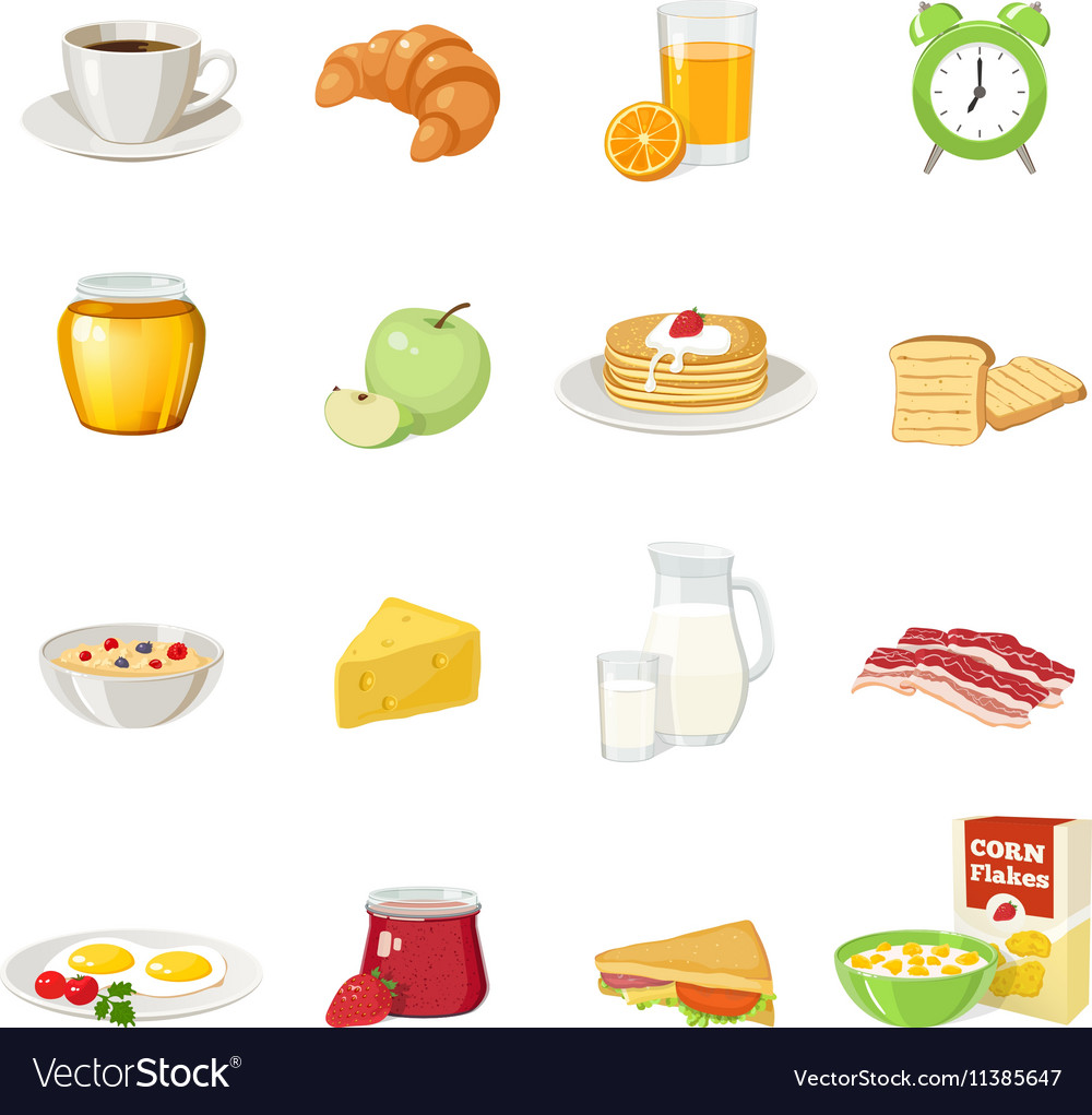 Breakfast Food Icon Set vector image