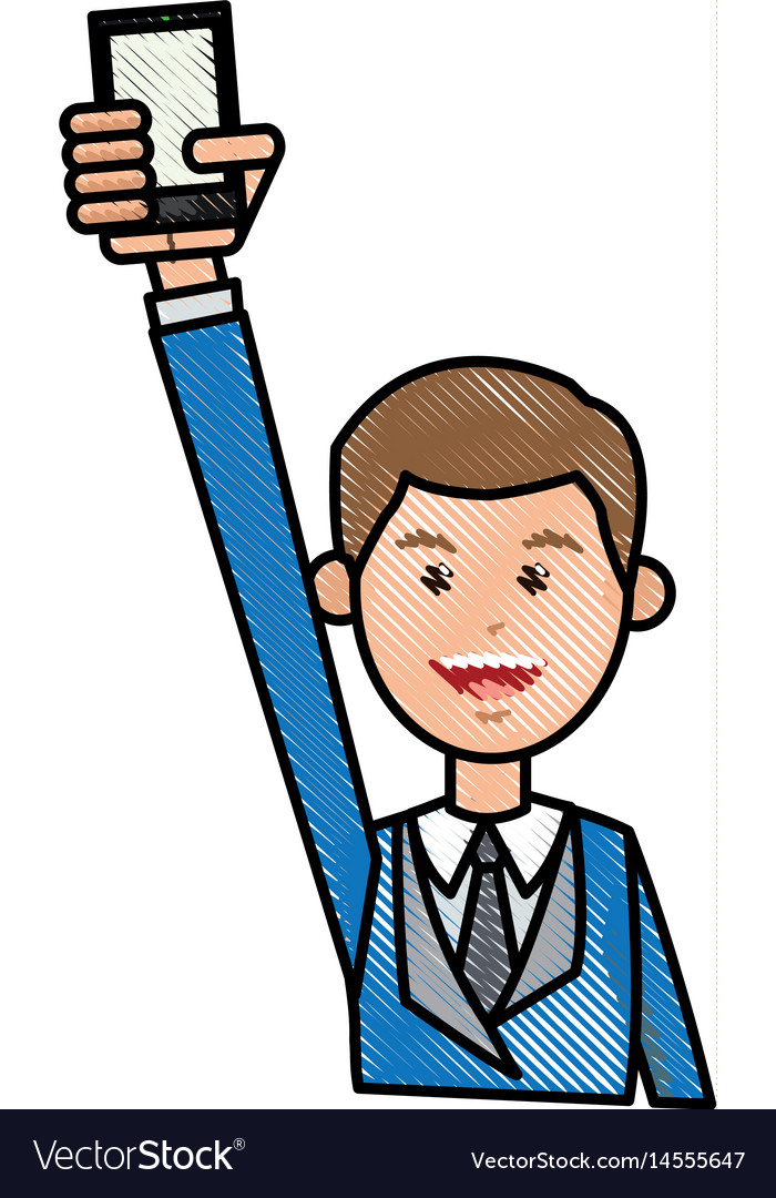 Drawing man with blue suit holding smartphone vector image
