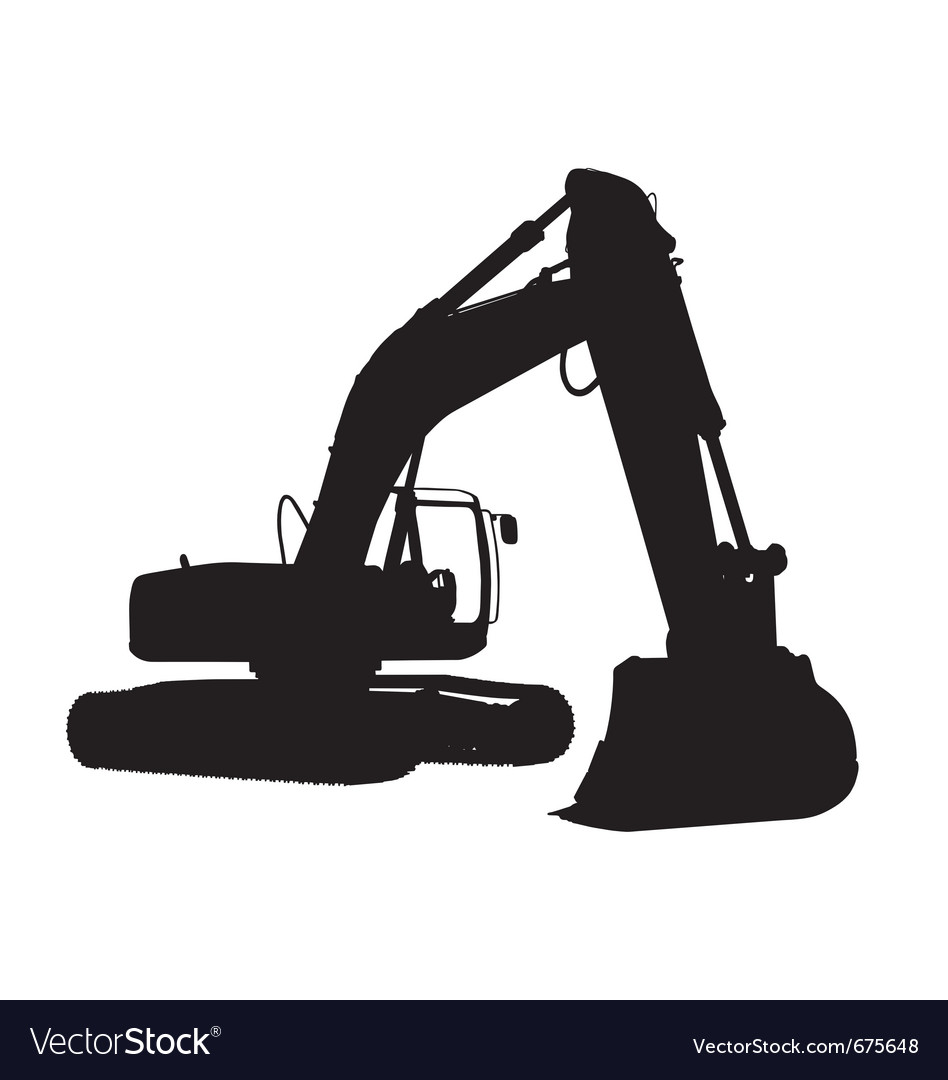 Excavator Silhouette Royalty Free Vector Image