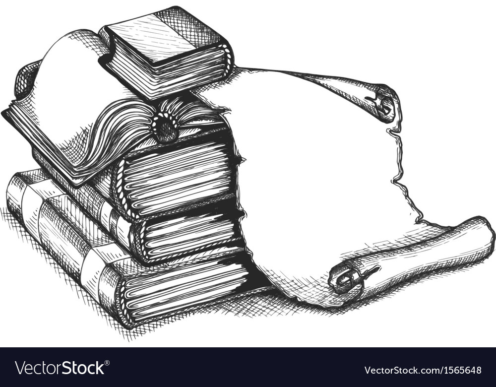 Paper scroll and books vector image