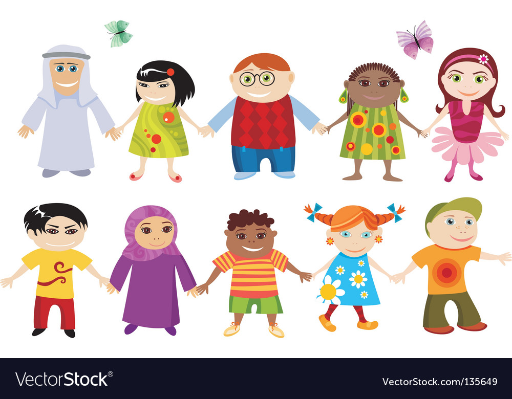Multi cultural children vector image