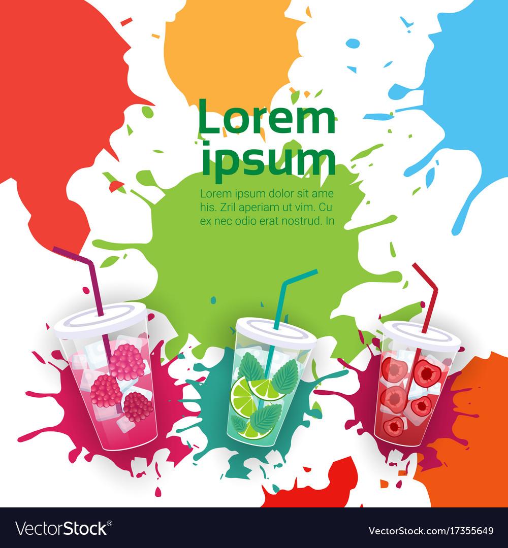 Fresh juice glasses set different taste summer vector image