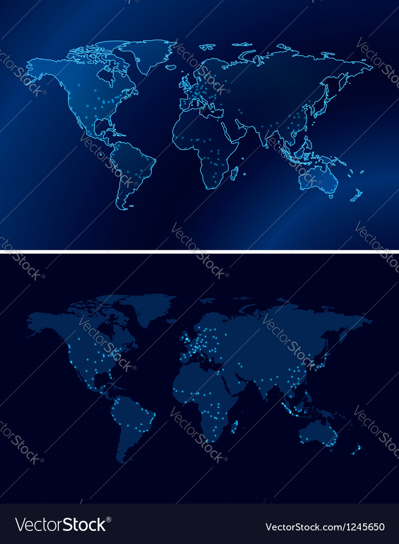 Blue maps of the world with light of the cities vector image
