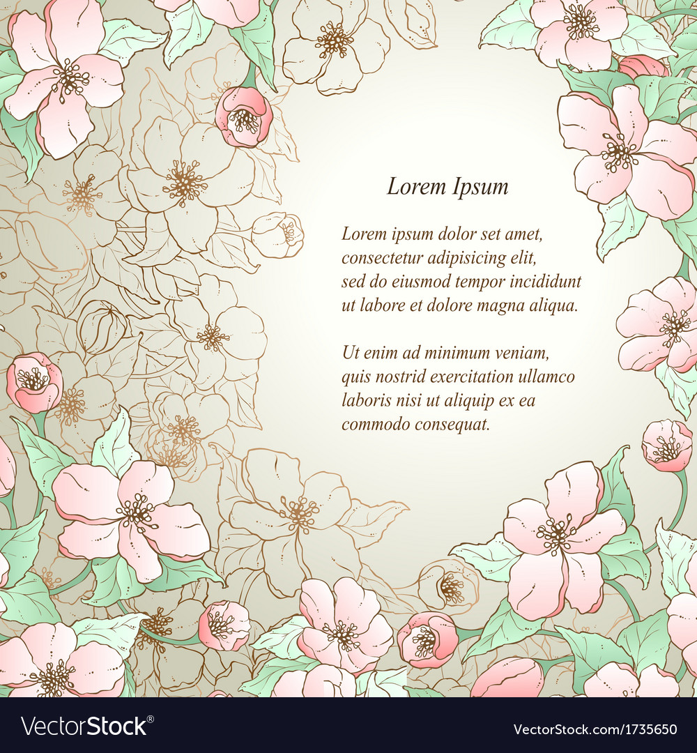 floral decorative background template frame design