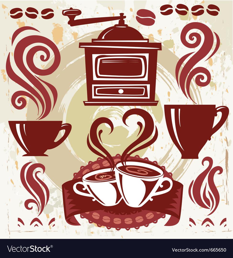 Symbols coffee vector image