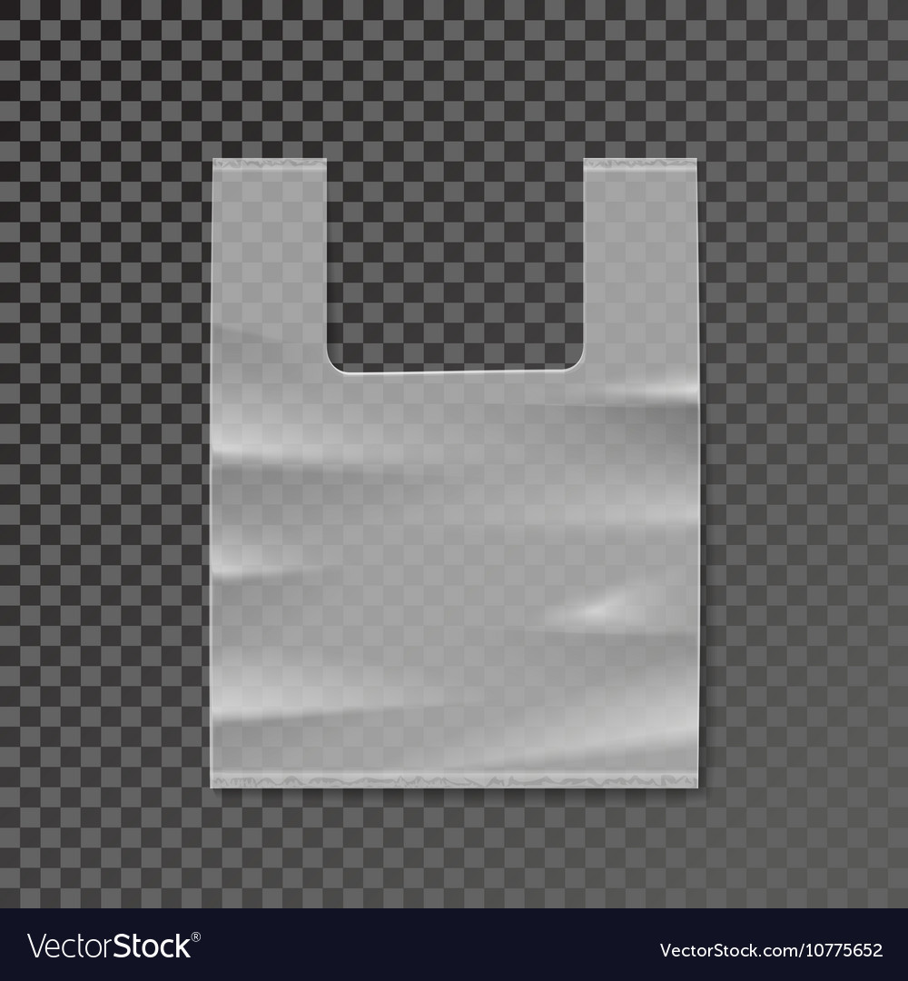 Plastic bag blank template on transparent vector image
