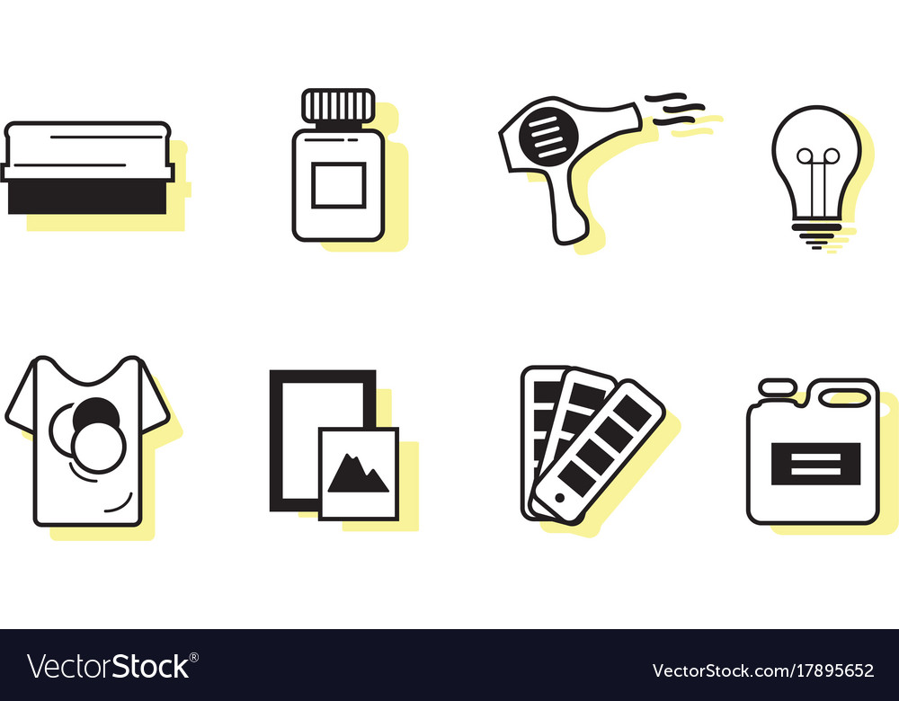 Screen printing icon sets vector image