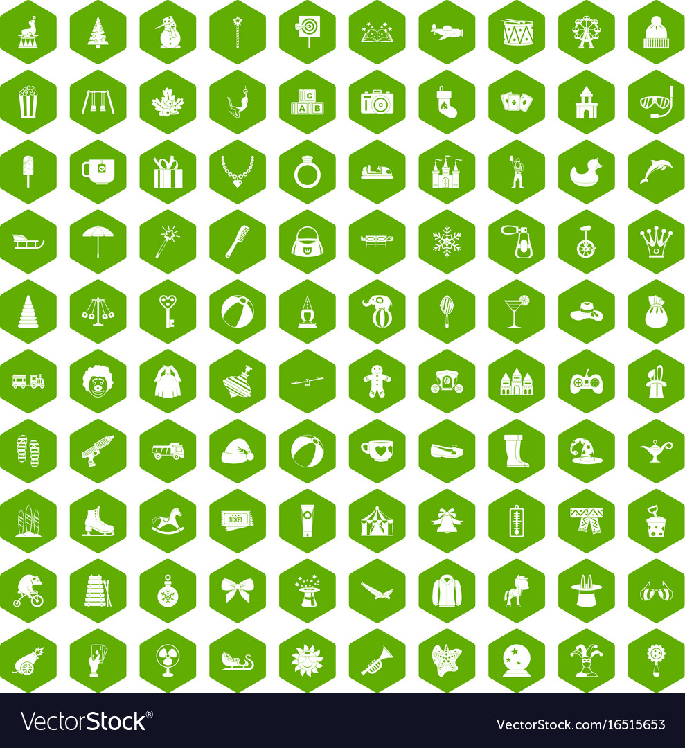 100 children icons hexagon green vector image