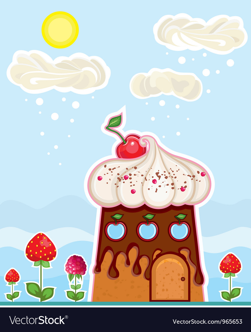 Cup cake house vector image