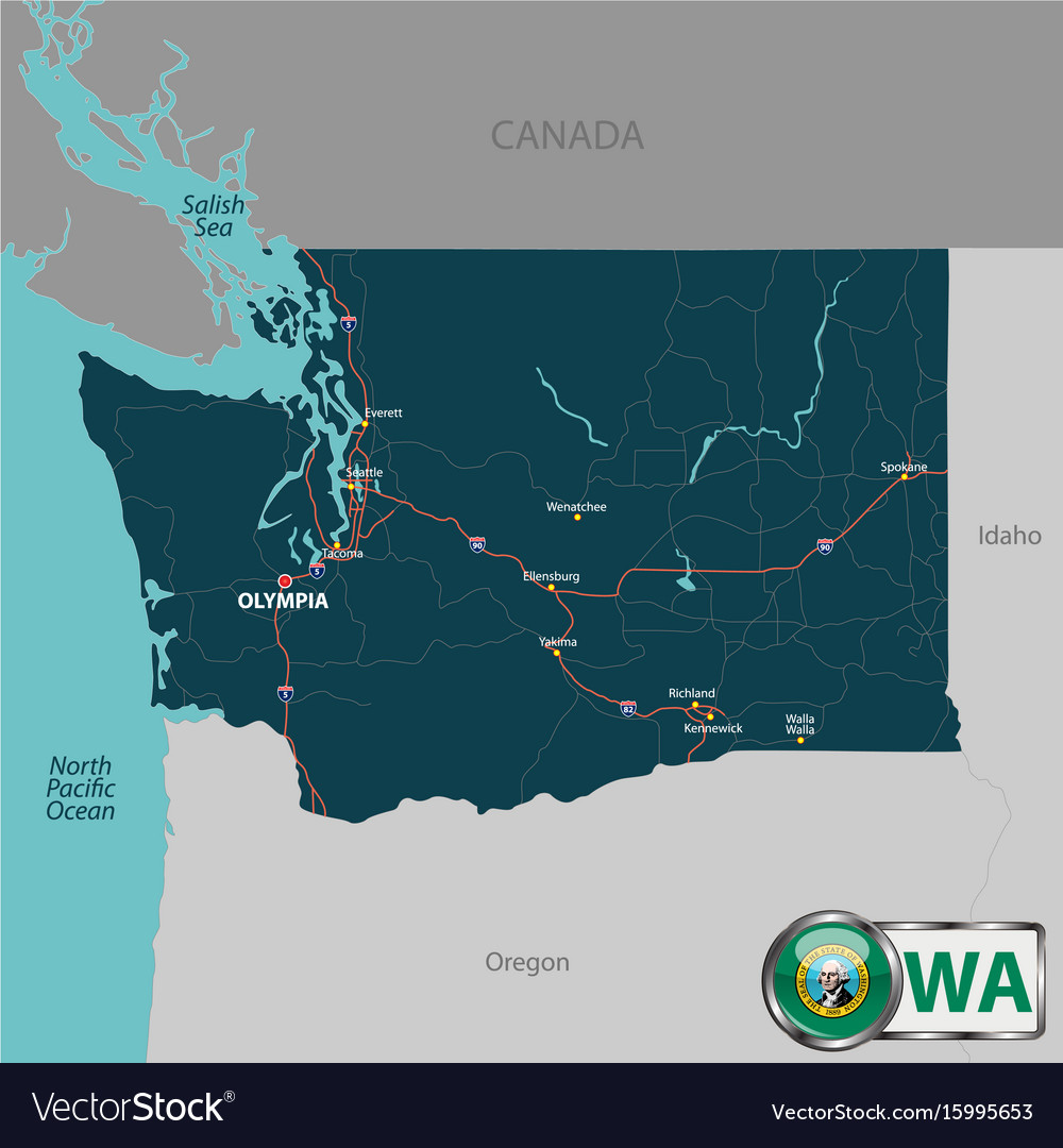 Map Of State Washington Usa Royalty Free Vector Image - Map of the state of washington usa