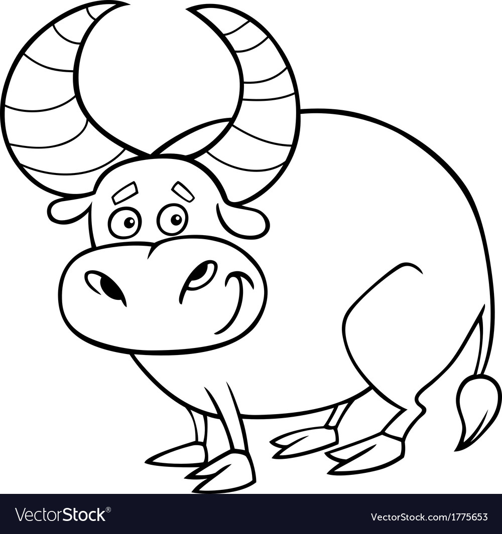 zodiac taurus or bull coloring page vector image - Bull Coloring Pages