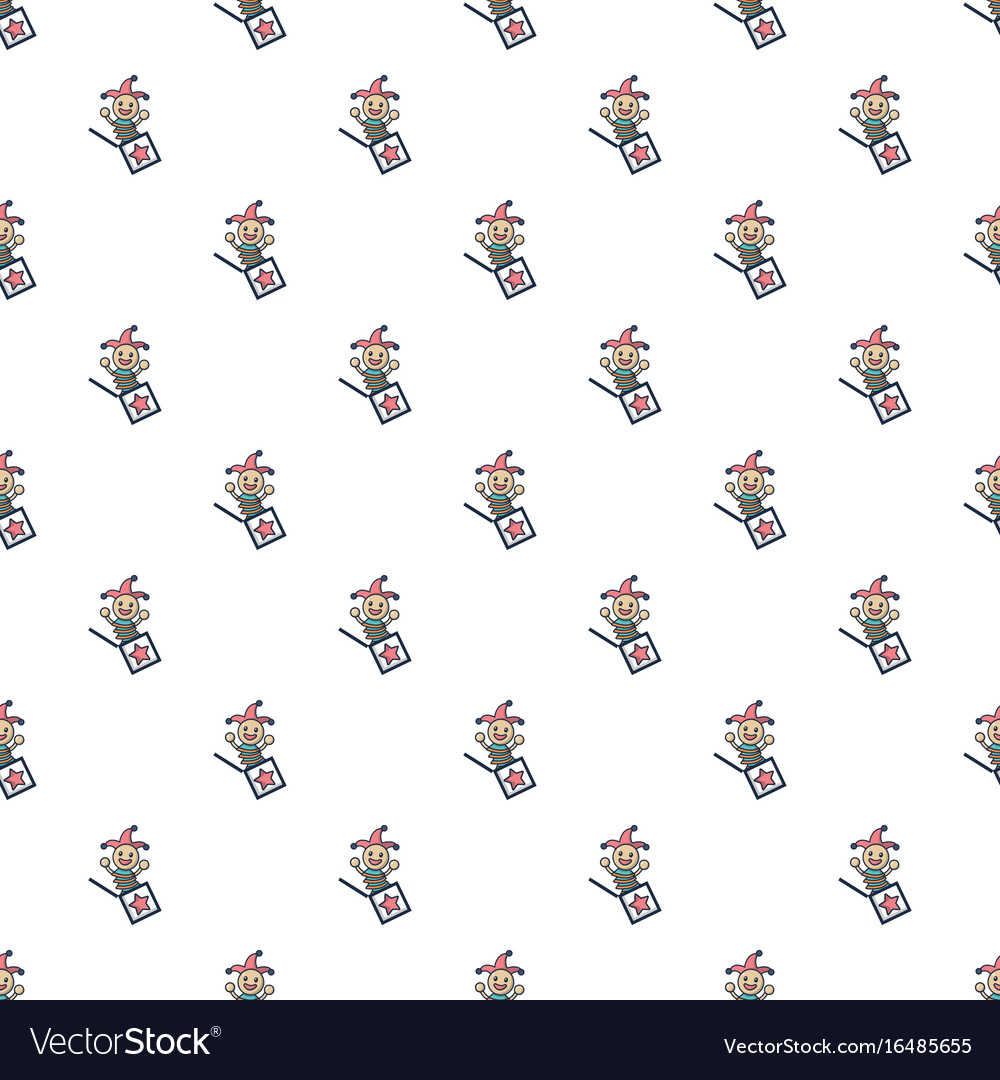 Jack in the box toy pattern seamless vector image