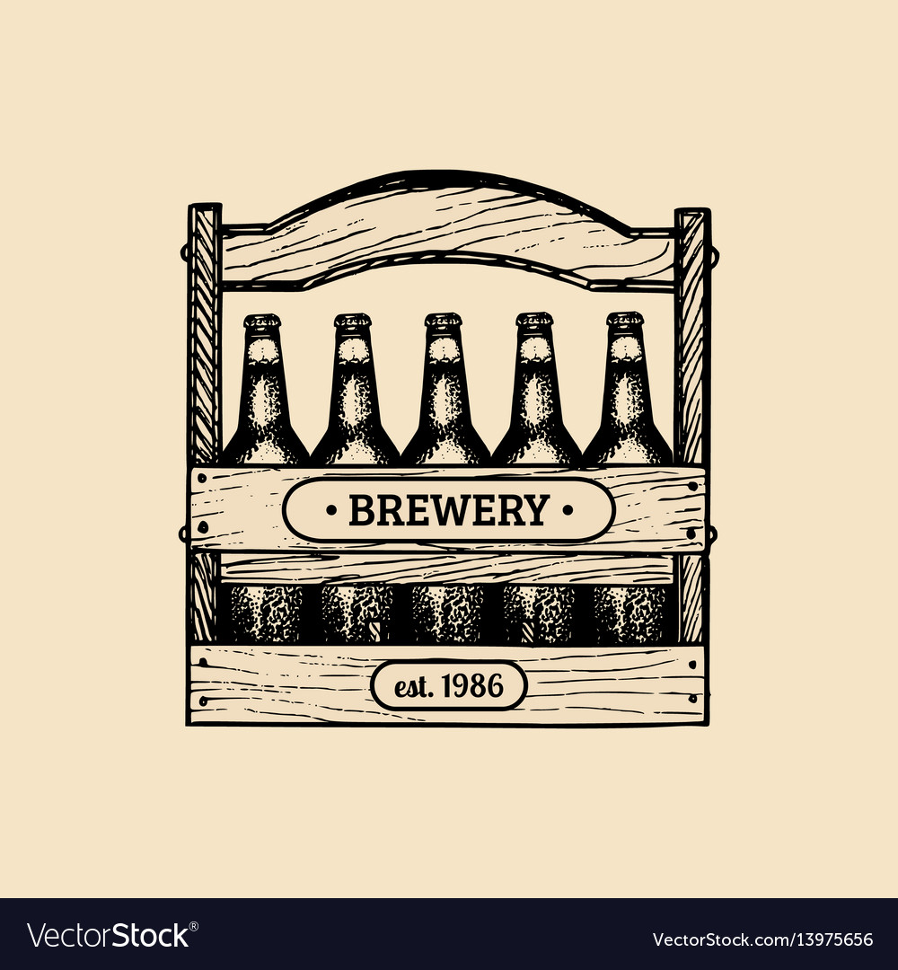 Beer box brewery logo lager retro icon with hand vector image