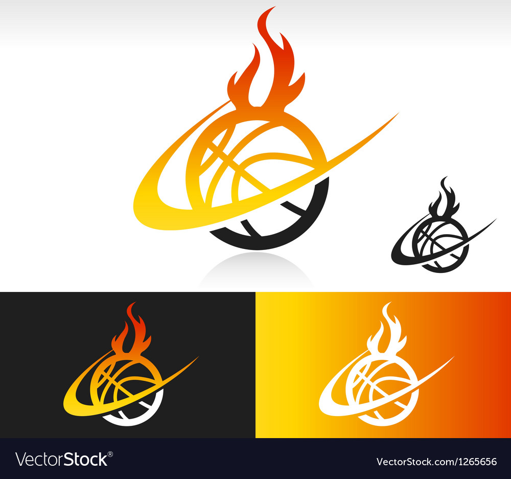 Fire Swoosh Basketball Logo Icon vector image