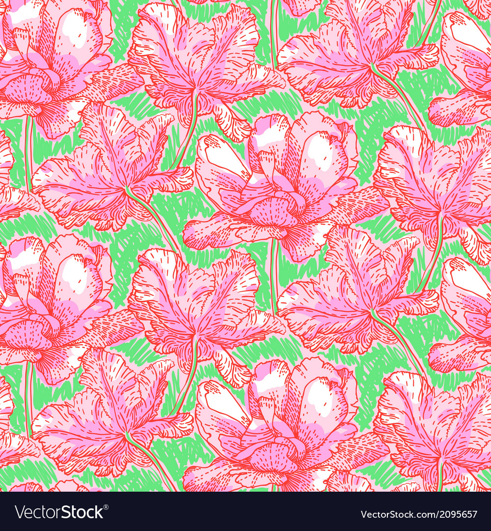 Pattern with field of bright peony flowers vector image