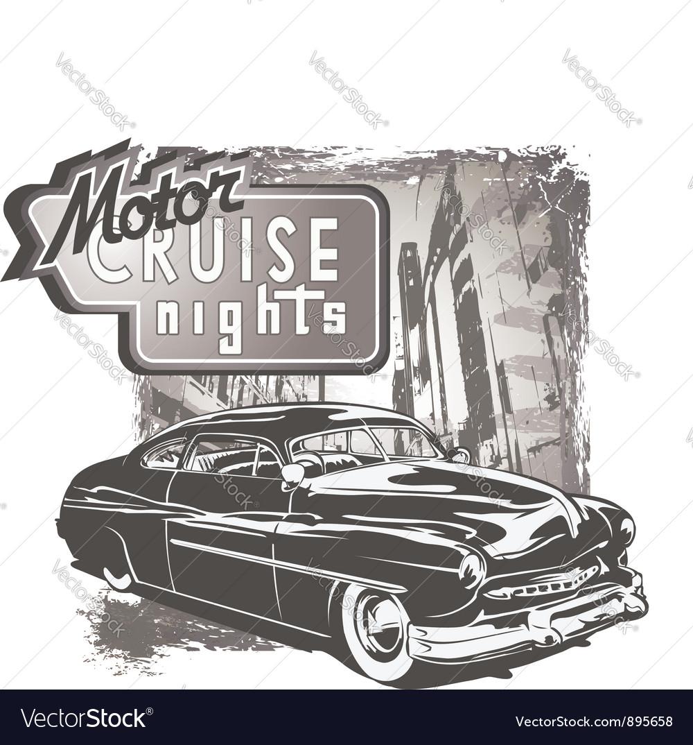 Mafia classic car grunge vector image