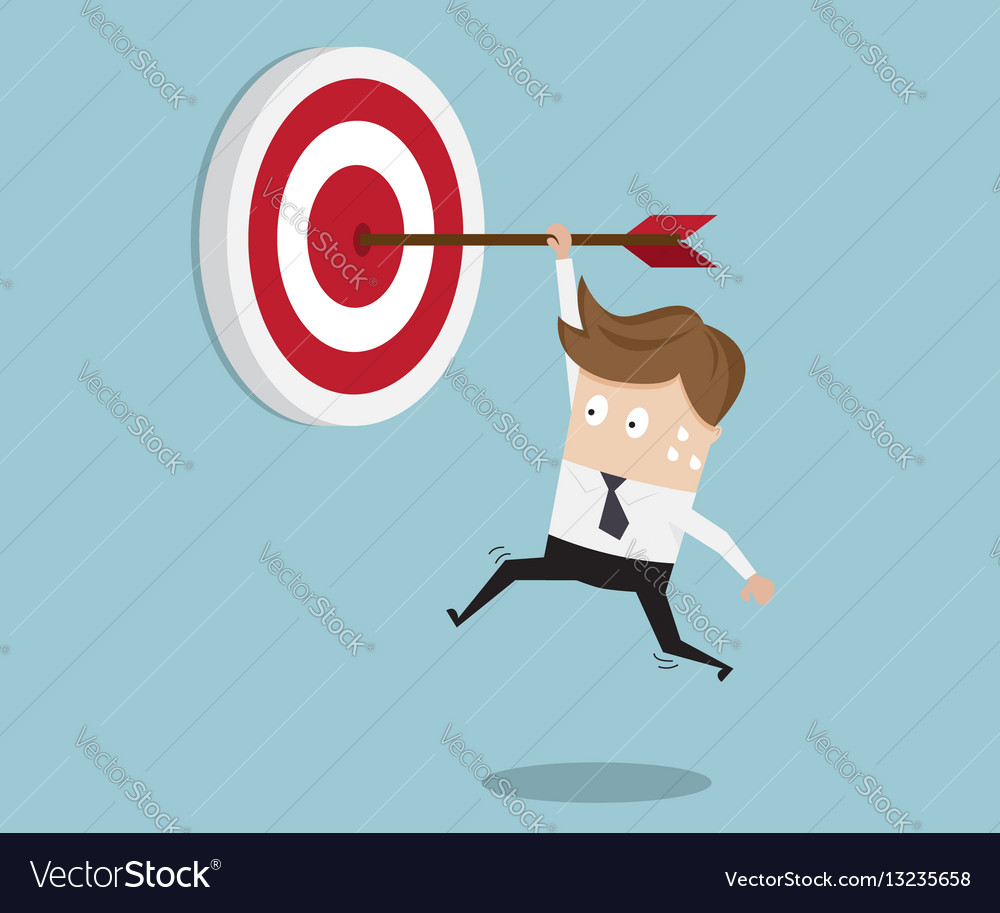 Businessman hanging arrow on target vector image