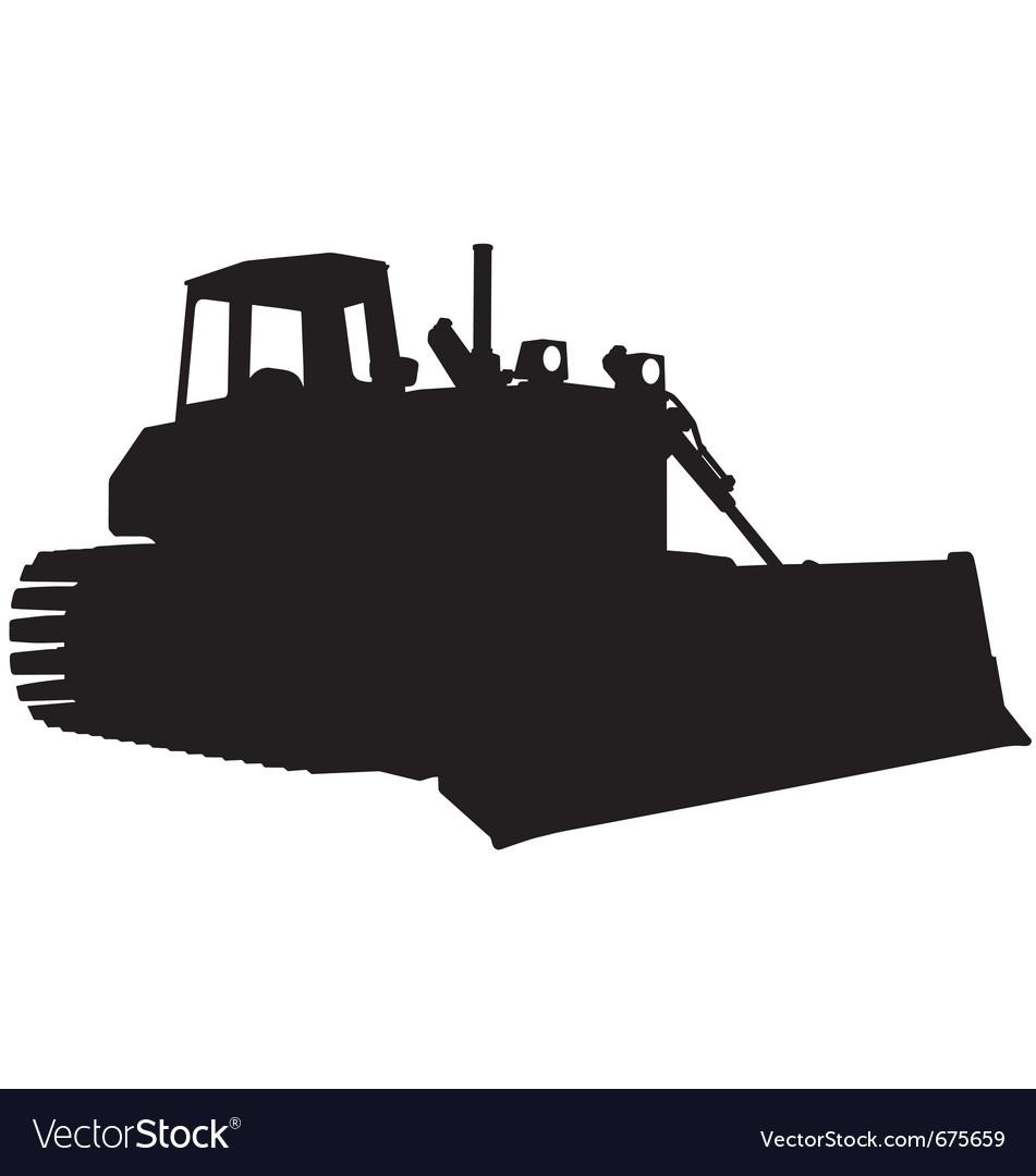 Bulldozer silhouette Royalty Free Vector Image