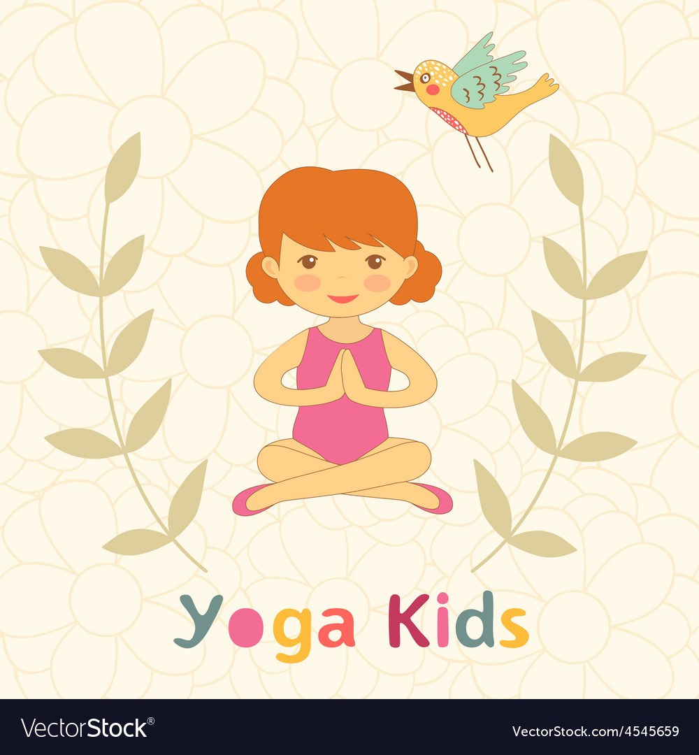 Cute yoga kids card with little girl vector image