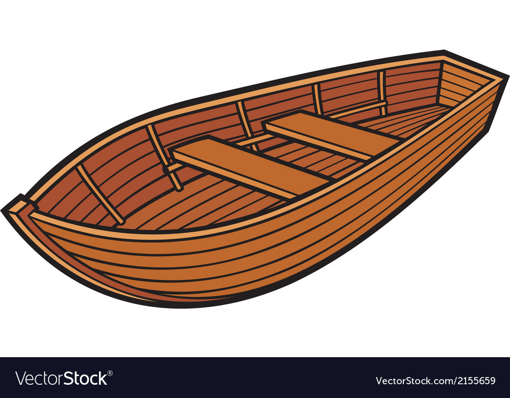 Wooden boat Royalty Free Vector Image - VectorStock