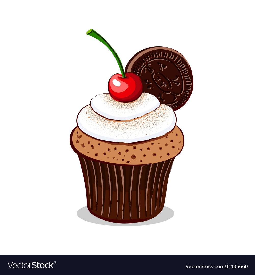 Cupcake With Cherry And Cream vector image
