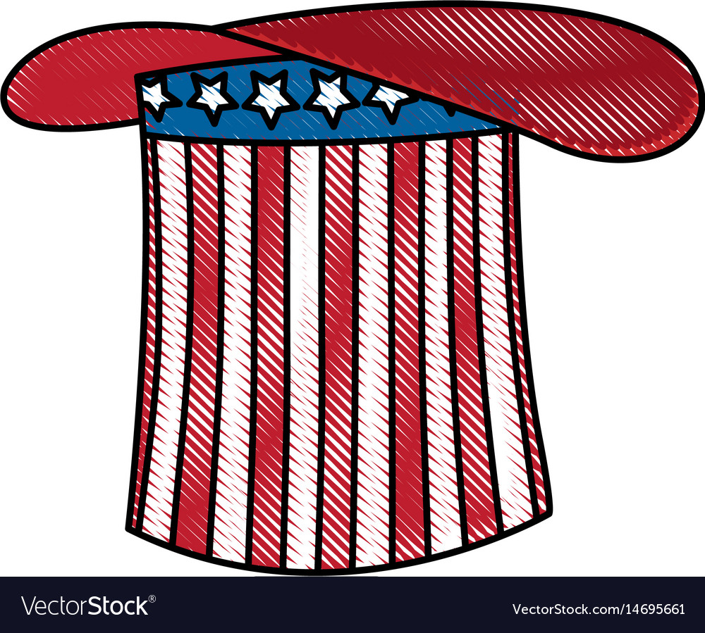 Drawing hat flag america celebration party vector image